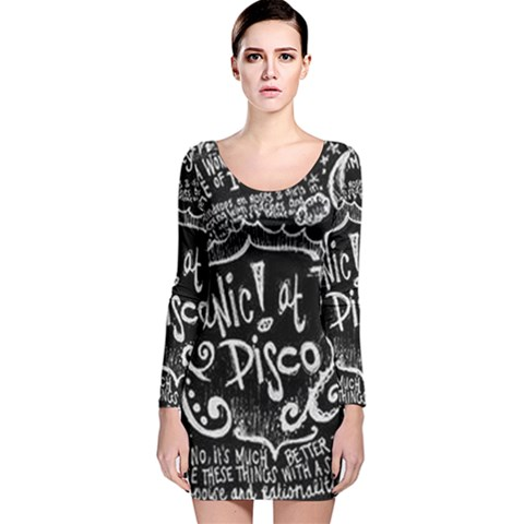 Panic ! At The Disco Lyric Quotes Long Sleeve Velvet Bodycon Dress