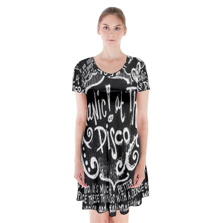 Panic ! At The Disco Lyric Quotes Short Sleeve V-neck Flare Dress
