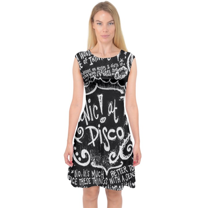Panic ! At The Disco Lyric Quotes Capsleeve Midi Dress