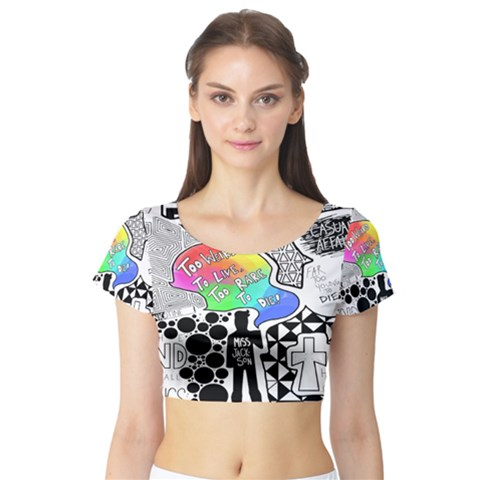 Panic ! At The Disco Short Sleeve Crop Top (Tight Fit)