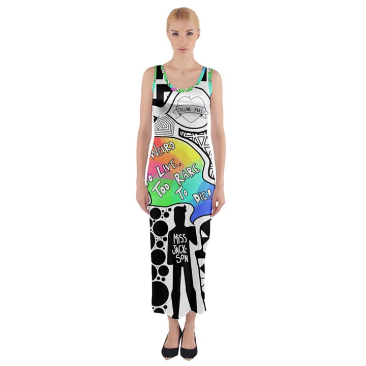 Panic ! At The Disco Fitted Maxi Dress