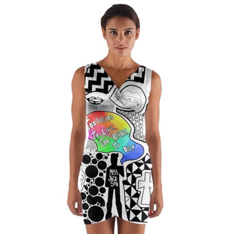 Panic ! At The Disco Wrap Front Bodycon Dress