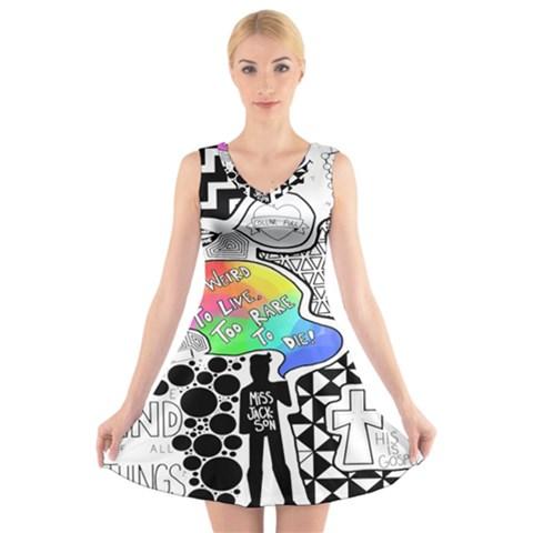 Panic ! At The Disco V-Neck Sleeveless Skater Dress