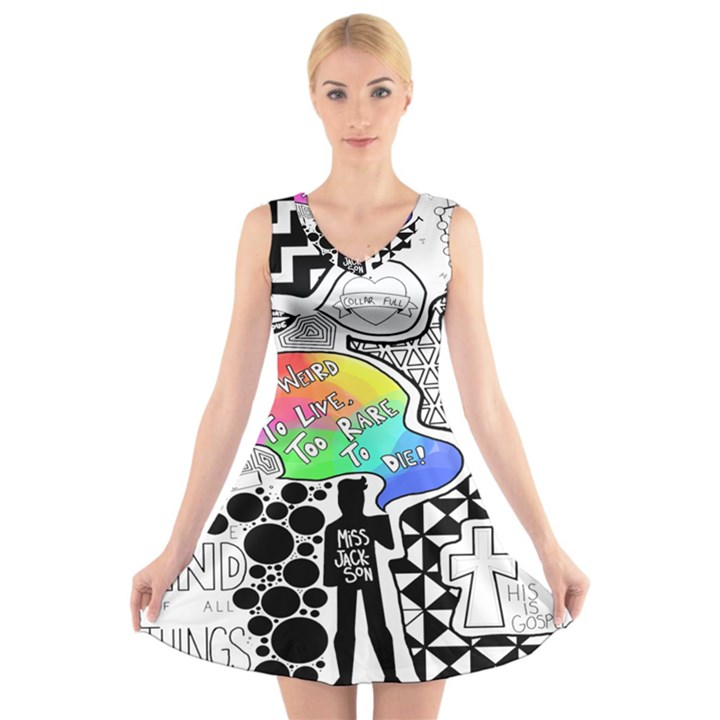 Panic ! At The Disco V-Neck Sleeveless Skater Dress