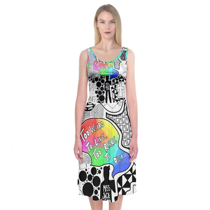 Panic ! At The Disco Midi Sleeveless Dress