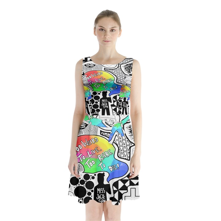 Panic ! At The Disco Sleeveless Chiffon Waist Tie Dress