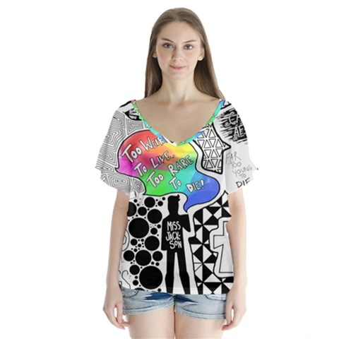 Panic ! At The Disco Flutter Sleeve Top