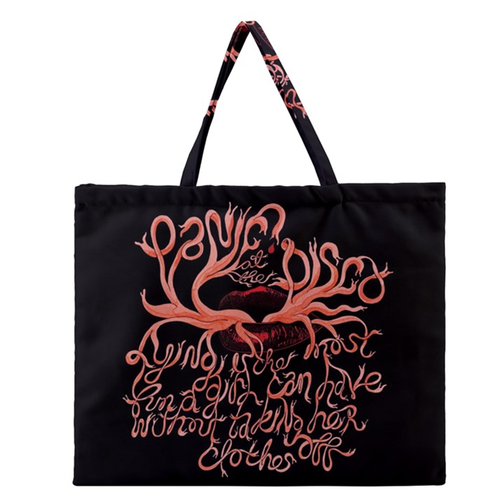 Panic At The Disco   Lying Is The Most Fun A Girl Have Without Taking Her Clothes Zipper Large Tote Bag