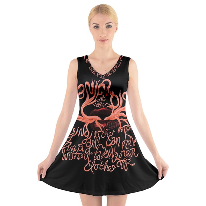 Panic At The Disco   Lying Is The Most Fun A Girl Have Without Taking Her Clothes V-Neck Sleeveless Skater Dress