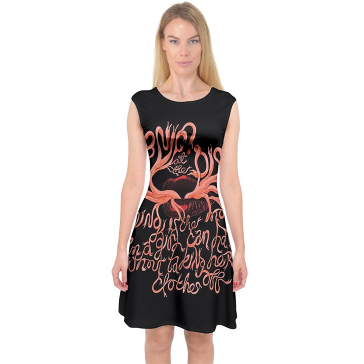 Panic At The Disco   Lying Is The Most Fun A Girl Have Without Taking Her Clothes Capsleeve Midi Dress
