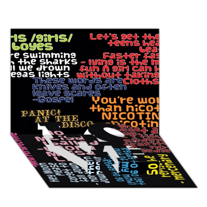 Panic At The Disco Northern Downpour Lyrics Metrolyrics LOVE Bottom 3D Greeting Card (7x5)
