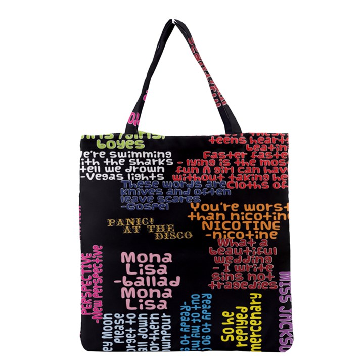 Panic At The Disco Northern Downpour Lyrics Metrolyrics Grocery Tote Bag