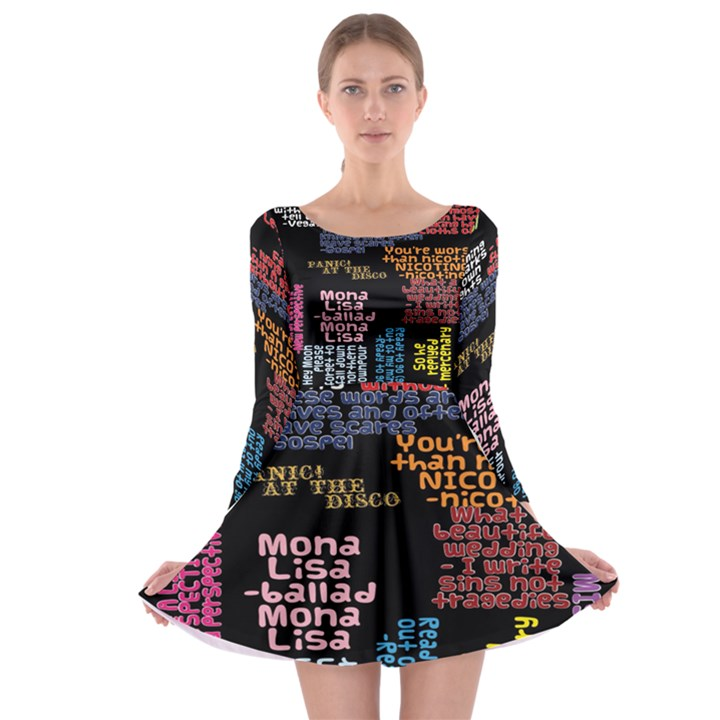 Panic At The Disco Northern Downpour Lyrics Metrolyrics Long Sleeve Skater Dress