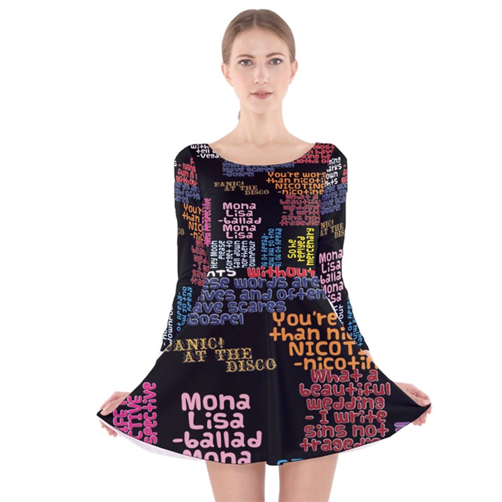 Panic At The Disco Northern Downpour Lyrics Metrolyrics Long Sleeve Velvet Skater Dress