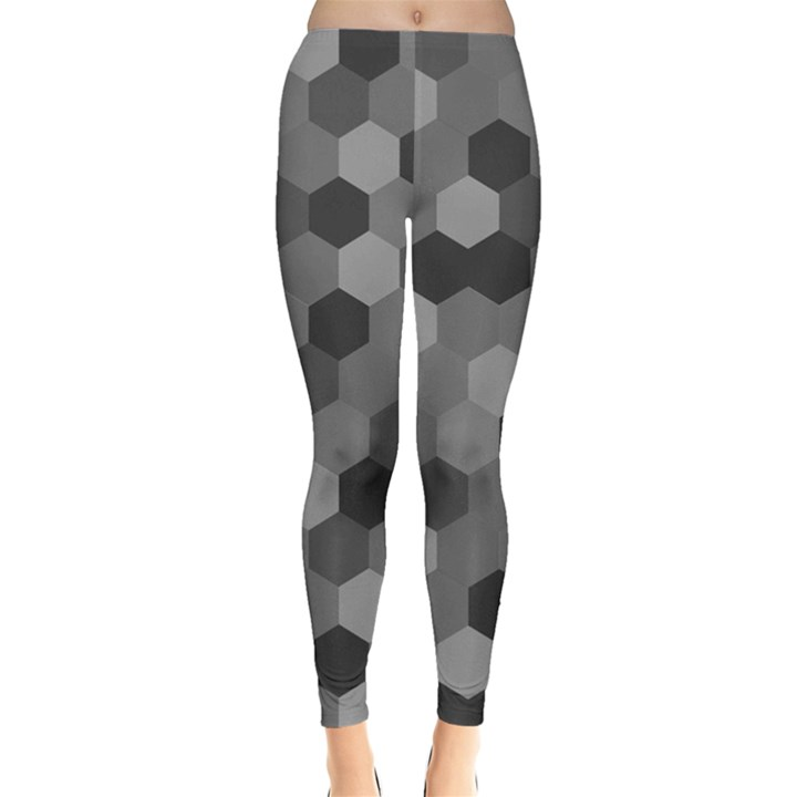 Camo Hexagons in Black and Grey Leggings
