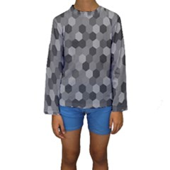 Camo Hexagons In Black And Grey Kids  Long Sleeve Swimwear