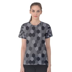 Camo Hexagons in Black and Grey Women s Cotton Tee