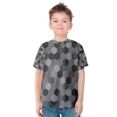 Camo Hexagons In Black And Grey Kids  Cotton Tee