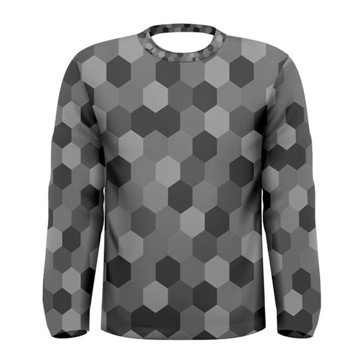 Camo Hexagons in Black and Grey Men s Long Sleeve Tee
