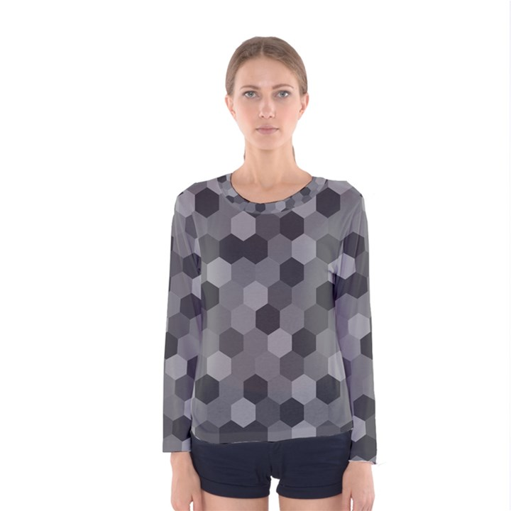 Camo Hexagons in Black and Grey Women s Long Sleeve Tee