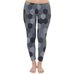 Camo Hexagons In Black And Grey Winter Leggings