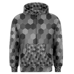 Camo Hexagons in Black and Grey Men s Zipper Hoodie