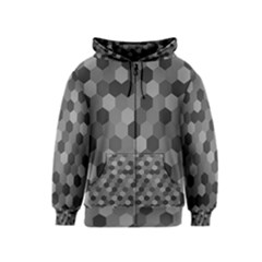 Camo Hexagons in Black and Grey Kids  Zipper Hoodie