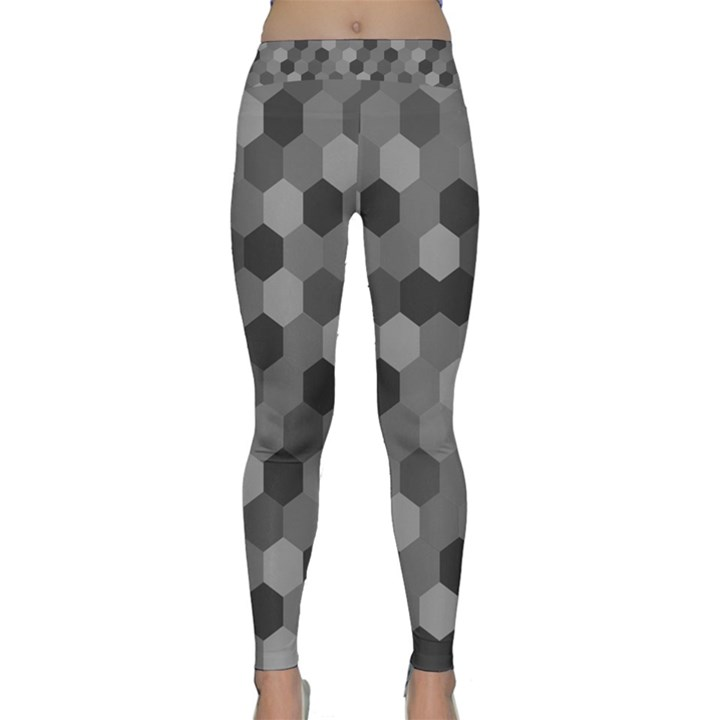 Camo Hexagons in Black and Grey Yoga Leggings