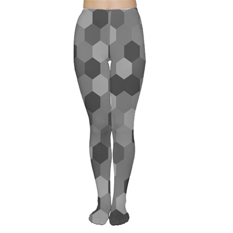 Camo Hexagons in Black and Grey Women s Tights
