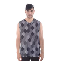 Camo Hexagons In Black And Grey Men s Basketball Tank Top