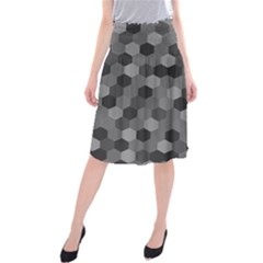 Camo Hexagons in Black and Grey Midi Beach Skirt