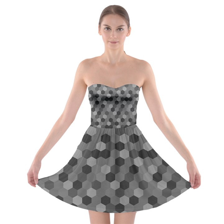 Camo Hexagons in Black and Grey Strapless Bra Top Dress