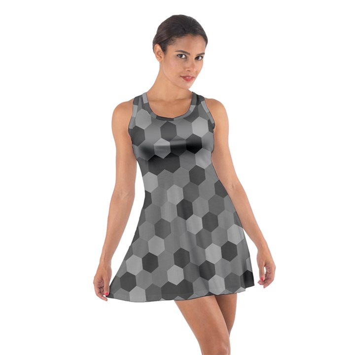 Camo Hexagons in Black and Grey Cotton Racerback Dress