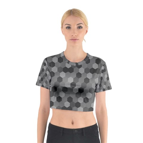 Camo Hexagons in Black and Grey Cotton Crop Top