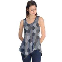 Camo Hexagons in Black and Grey Sleeveless Tunic