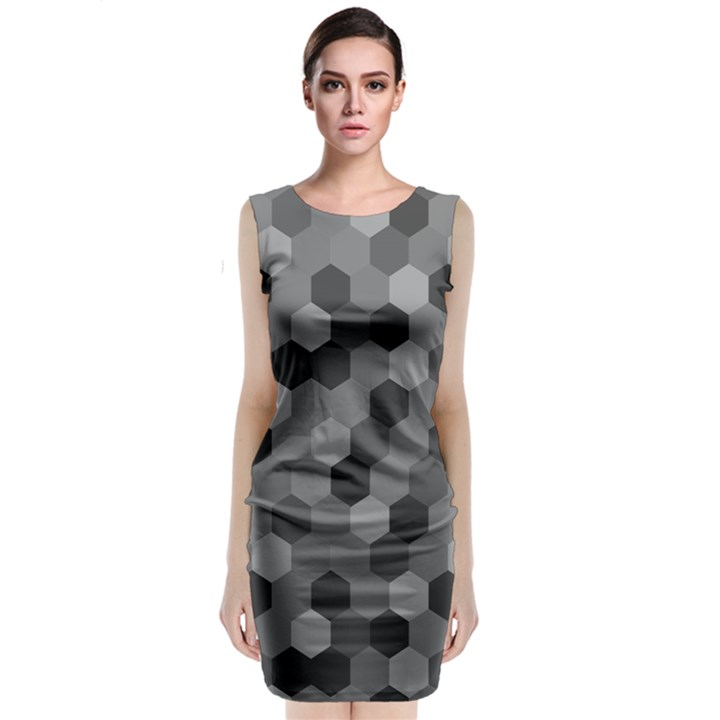 Camo Hexagons in Black and Grey Classic Sleeveless Midi Dress