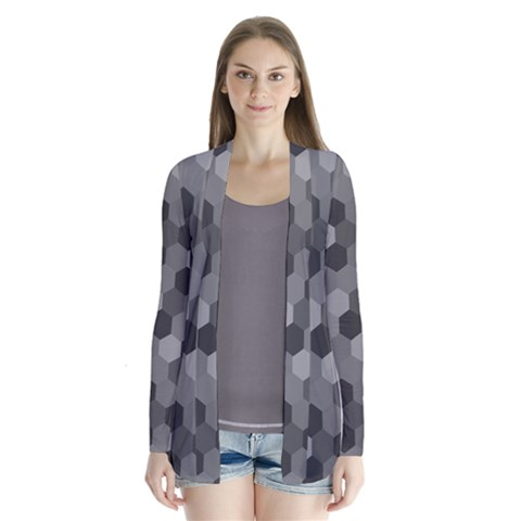 Camo Hexagons in Black and Grey Drape Collar Cardigan
