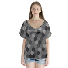 Camo Hexagons In Black And Grey Flutter Sleeve Top