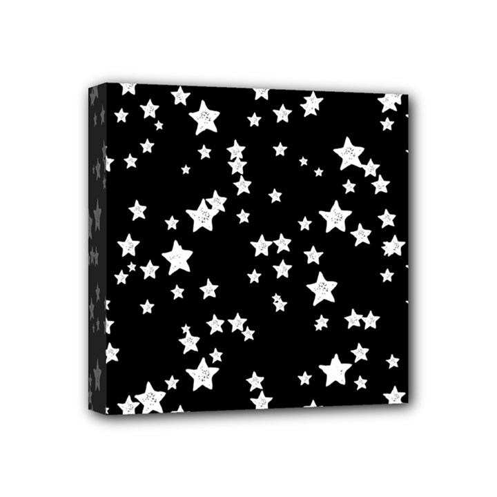 Black And White Starry Pattern Mini Canvas 4  x 4