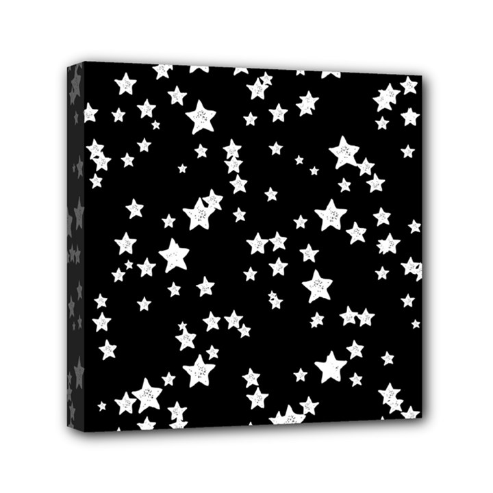 Black And White Starry Pattern Mini Canvas 6  x 6