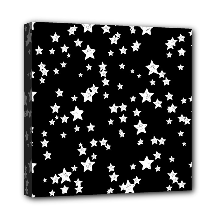 Black And White Starry Pattern Mini Canvas 8  x 8