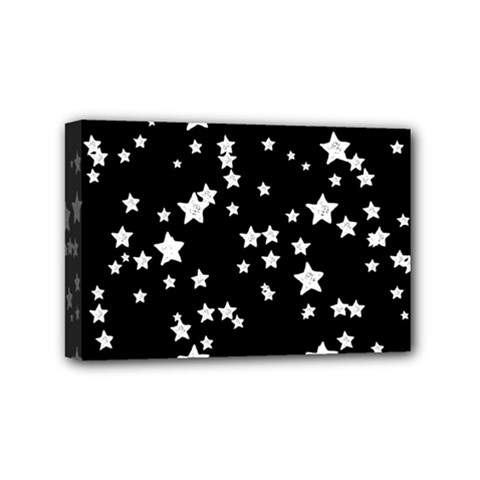 Black And White Starry Pattern Mini Canvas 6  X 4