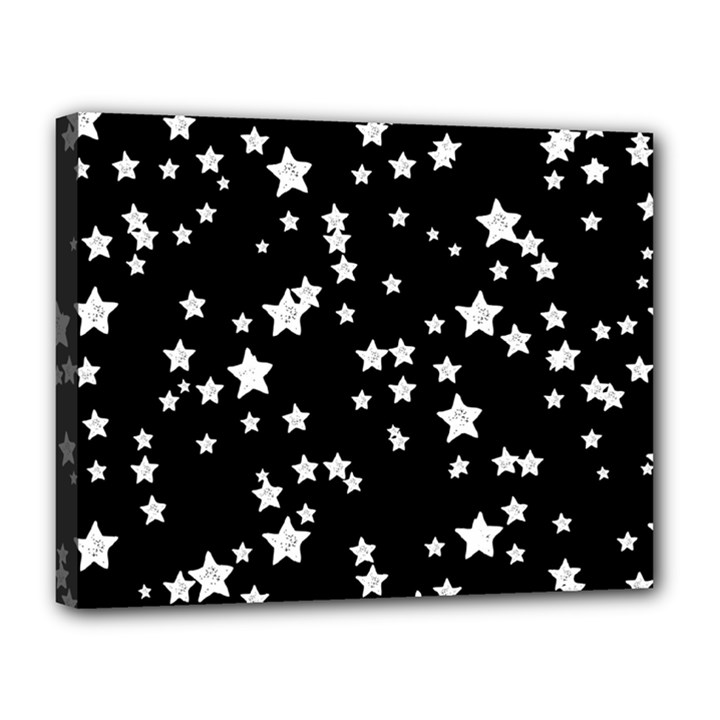 Black And White Starry Pattern Canvas 14  x 11
