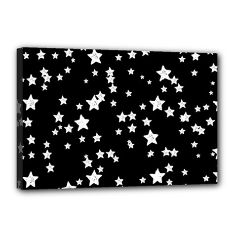 Black And White Starry Pattern Canvas 18  X 12