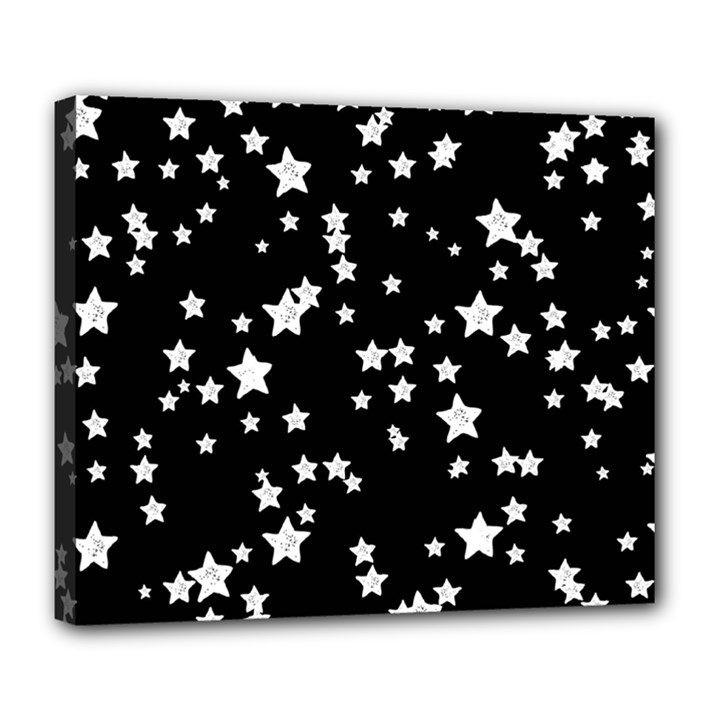 Black And White Starry Pattern Deluxe Canvas 24  x 20
