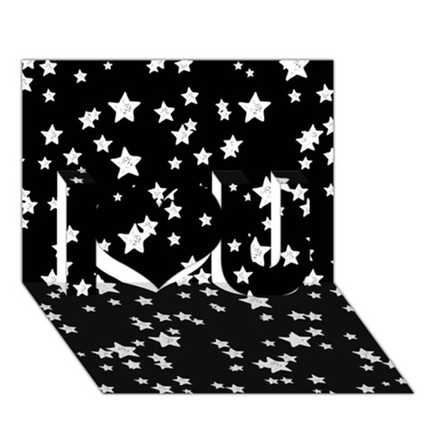 Black And White Starry Pattern I Love You 3D Greeting Card (7x5)