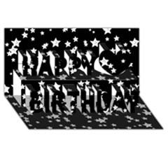 Black And White Starry Pattern Happy Birthday 3D Greeting Card (8x4)