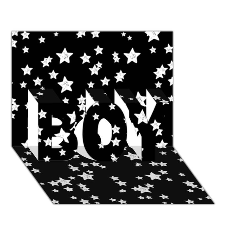 Black And White Starry Pattern BOY 3D Greeting Card (7x5)