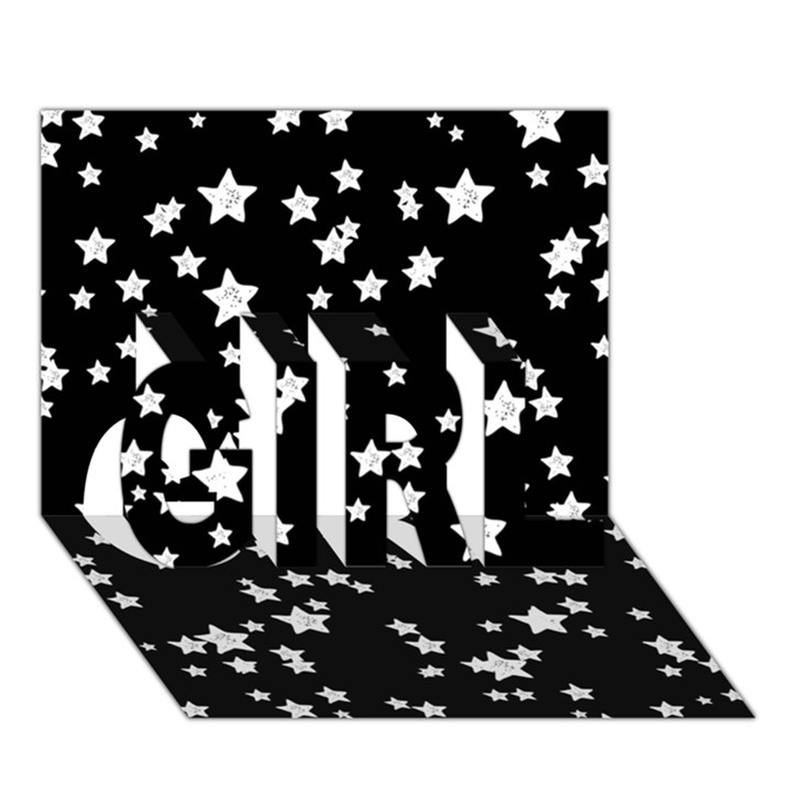 Black And White Starry Pattern GIRL 3D Greeting Card (7x5)