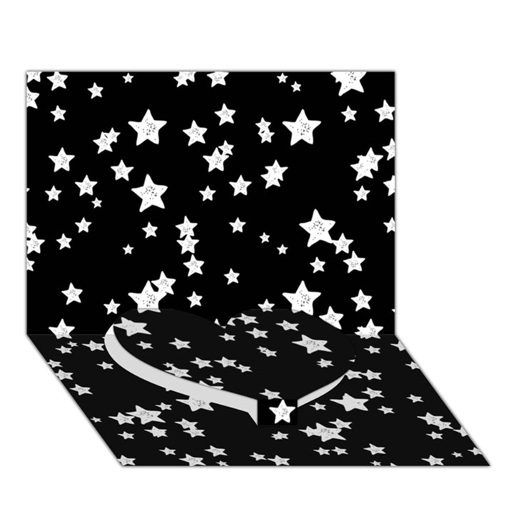 Black And White Starry Pattern Heart Bottom 3D Greeting Card (7x5)
